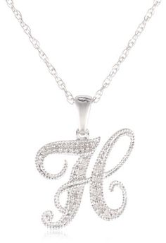 """Sterling Silver Initial H Diamond Pendant Necklace (0.04 cttw, I-J Color, I2-I3 Clarity), 18"""" -  Product Features  Made in China"""