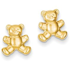 14k Yellow Gold Teddy Bear Post Stud Earrings (725 MXN) ❤ liked on Polyvore featuring jewelry, earrings, gold, 14k gold earrings, yellow gold earrings, 14 karat gold jewelry, gold jewellery and yellow gold stud earrings