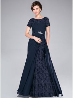 A-Line/Princess Scoop Neck Sweep Train Chiffon Mother of the Bride Dress With…