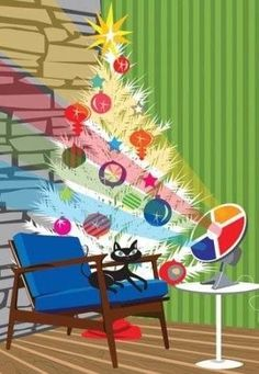 Mid-century Modern Christmas Tree. Retro Color Wheel. Vintage Christmas Ornaments.