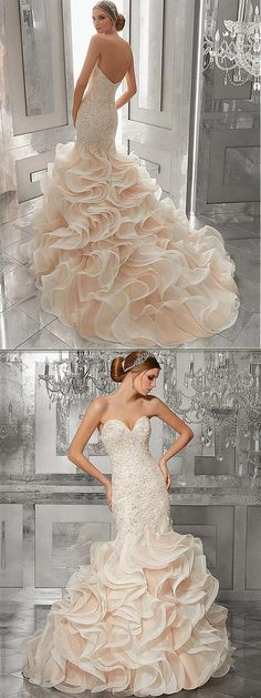 Junoesque Tulle & Organza Sweetheart Neckline Mermaid Wedding Dresses With Beaded Lace Appliques & Ruffles