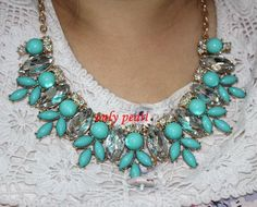 Turquoise Bubble Bib Necklace Handmade Bubble Jewelry by OnlyPearl, $12.40