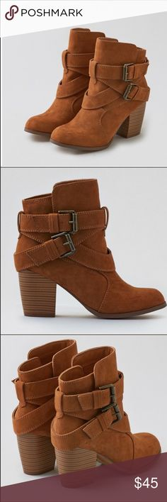 AE buckled Heeled bootie New in box. American Eagle Buckle heeled boot. Stylish and trendy. True to size. Chestnut. The perfect bootie to pair with skirts, dresses, and leggings/jeggings. Versatile and will transition through all seasons!! ❤️ American Eagle Outfitters Shoes Ankle Boots & Booties