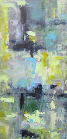 Original Painting Abstract Art  Paynes Grey by lindadonohue