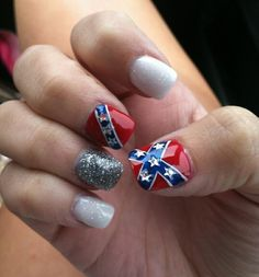 Rebel flag nails nails pinterest rebel flag nails and flag nails rebel flag nail art prinsesfo Gallery