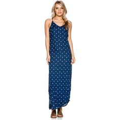 """Element Fire Maxi Dress.     Women's maxi dress.     Sleeveless design.     High hem slit.     Allover print.     Metal logo trim.     100% Rayon.     Imported.     Vendor Style #: JD15KFIR.        Size & Fit Guide     Model is wearing size Small.   Model's height: 5'11""""   Model's chest: 32 inches.   Model's waist: 24 inches.   Model's hips: 35 inches."""