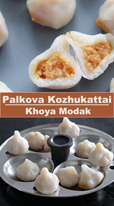 Palkova Mothagam is also known as khoya modak or palkova kozhukattai is a sweet dumpling made from the rice flour dough as outer cover and milk solids as inner filling. #khoyamodak Indian Food Recipes, Vegetarian Recipes, Sweets Recipes, Healthy Recipes, Sweet Dumplings, Fusion Food, Recipe Community, Rice Flour, Food Hacks