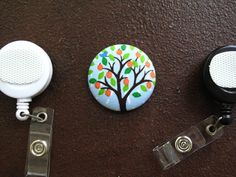 Summer Tree Fabric Covered Button for Clip on by tallulahssatchels (Accessories, Lanyard, badge reel, retractable, badge strap, clip on, lanyard, fabric button, tag holder, id badge reel, name tag, id, velcro button, tree badge reel, tree fabric button)