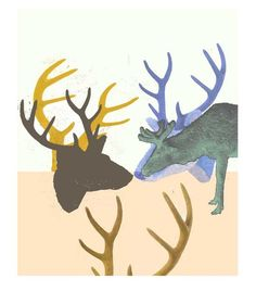 Antler  giclee print rustic wall decor animal art mustard brown  autumn fall