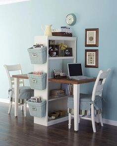 Homework stations. Cut a desk in two and attach to a bookshelf.