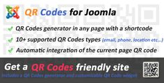 QR Codes generator for Joomla . This plugin enables you to integrate a QR Codes generator into your Joomla pages using a single shortcode. It features a user friendly interface where your users can generate their own QR Codes (links, phone numbers, email messages, vCards, geo locations…) and do some customization (size,
