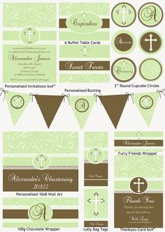 Christening Green Vine Party Printable Pack