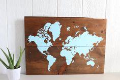 "32 1/2""x 22 1/4"" World Map on Wood Rustic Wall Decor Rustic World by TealBlueStudio"