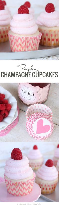 Bubbly champagne and fresh raspberries come together in this delicious Valentine's Day cupcake. Bake Champagne & Raspberry Cupcakes for your Valentine. By Lauren Kapeluck for TheCakeBlog.com