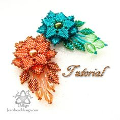 PDF Tutorial Faerie Flower Pendant. Peyote Stitch Flower Pendant. Pattern, Instructions