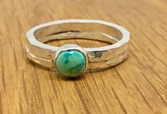 Beautiful Turquoise Silver Ring on a double hammered band.