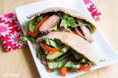 Steak Fajita Pitas Recipe: Steak Fajitas Pitas with Chipotle Ranch Dressing Low Salt Recipes, Healthy Beef Recipes, Low Sodium Recipes, Low Calorie Recipes, Cooking Recipes, Sodium Foods, Diet Recipes, Skinny Recipes, Vegetable Recipes