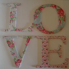 LOVE letters Decoupage with Cath Kidston paper Shabby by soyunmix, £24.00