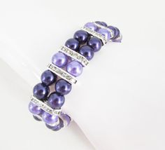 Purple and Lilac Pearl and Rhinestone Stretch by LillyJosephine