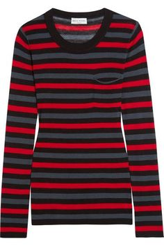 Sonia Rykiel - Striped Cotton And Silk-blend Jersey Top - Red - x large