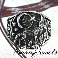 Wolf Paire .925 Sterling Silver Ring par Peter Stone bijoux
