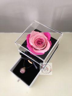Timeless preserved rose in mini luxury acrylic jewelry box keepsake Flower Box Gift, Flower Boxes, Rose Gift, Resin Flowers, Acrylic Box, Preserves, Pink Color, Ph, Birthday Cards