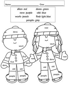 Winter Color by Word Freebie!~ Idea: Make something like this for Grace w/her site words.