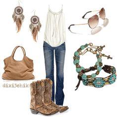 de jeans, de bril, de top, de tas, de oorbellen!