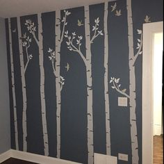 Birch Tree Forest Baby Rooms Ideas For 2019 Birch Tree Mural, Birch Tree Wall Decal, Tree Decals, Birch Trees, Tree Wall Murals, Forest Mural, Tree Forest, Forest Baby Rooms, Tree Interior