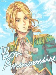 """""""Art by 深崎"""" Everyone surprised moi on my birthday when we were out at sea... They said it was thanks to Angleterre, moi's captain... I was so happy he remembered, and I was also shocked that I forgot about it myself! *I chuckle* Merci, mon cher Captain!"""