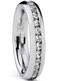 4MM High Polish Ladies Eternity Titanium Ring Wedding Band with CZ Size 7#wedding #Ideas