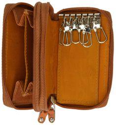 Genuine Leather Zipper Key Chain Holder Wallet 212 CF (C)