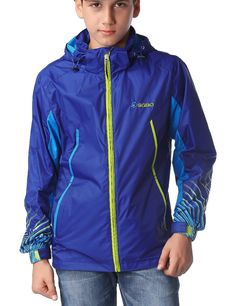SGBO Big Boys' Graphic Hooded Rain Coat US Size 14 Purple. hand pockets. Banded cuffs. Wind protectant and waterproof outer shell. Mesh lining. Machine washable.