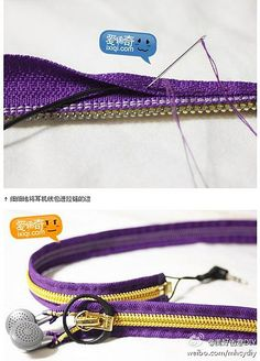 sew up each side of a zipper for your ear buds...keeps them from tangling and looks great!