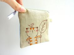 Coin Purse Kitty and fish by dancingintherains on Etsy, $16.00