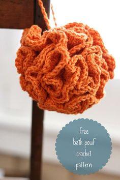 Free bath pouf crochet pattern from Daisy Cottage Designs.