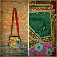 Handmade Crossbody Bag from India With Shells (Red Multi)