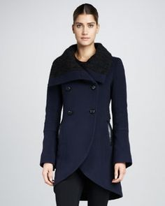 Mackage Fran Cable-Knit-Collar Coat