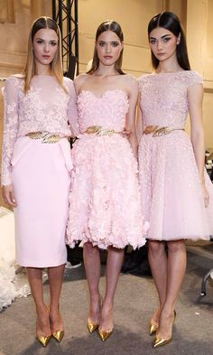 Pink bridesmaids dresses | pink wedding