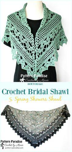 Spring Showers Shawl Free Crochet Pattern-#Crochet; Bridal #Shawl; Free Patterns