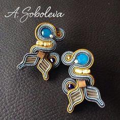 Soutache Earrings, Diy And Crafts, Enamel, Accessories, Beadwork, Soutache Jewelry, Isomalt, Pearl Embroidery, Enamels
