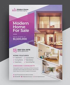 Modern Real Estate Flyer Template is an elegant and virtual flyer suitable for any kind of property related business, realtor, interior design. Real Estate Ads, Real Estate Flyers, Real Estate Houses, Graphic Design Flyer, Design Poster, Flyer Design, Template Flyer, Real Estate Flyer Template, Brosure Design