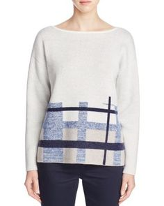 Lafayette 148 New York Brushed Jacquard Plaid Sweater | Bloomingdale's