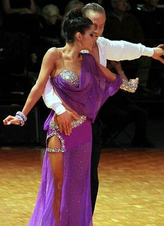 Purple sheer latin dress