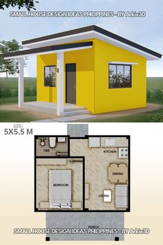 Small House Floor Plans, Small Tiny House, My House Plans, Tiny House Cabin, 1 Bedroom House Plans, Small Houses, Minimal House Design, Modern Small House Design, Plan Chalet