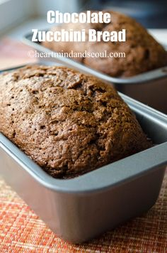 Chocolate Zucchini Bread. I decreased sugar to 1.5 cups and replaced the chocolate chips with dried cranberries (only because I was out of chips).