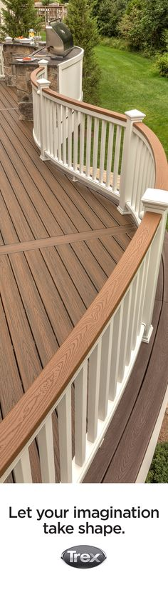 Create shape and visual interest for your deck with curved railing and contrasting cocktail rail and balusters all made from Trex Composite materials. Learn more about railing pairings at trex.com