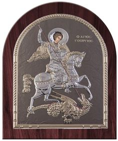 Saint George Byzantine Greek Silver Orthodox Religious Icon- Made in Greece - Size - x cm Color: Blue Ciel Dome Shape silver icon with wooden background Saint George And The Dragon, Greek Icons, Byzantine Icons, Archangel Michael, Saint Nicholas, Religious Icons, Orthodox Icons, Ikon, Saints