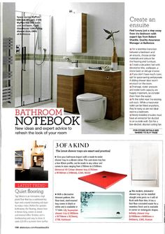 House Beautiful - Bathroom Notebook - July 2013 ---- Magazine Feature for Roman Showers. All press clippings can be found at http://www.roman-showers.com/press-centre/coverage/