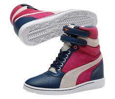 Sky Wedge in Dark Denim #PUMAstyle #PUMA #sportfashion #sneakers #shoes #fashion #style #pink